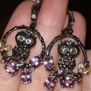 Jewelry - Owl amethyst artistic earrings